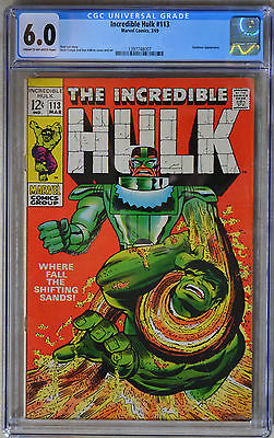THE INCREDIBLE HULK #113 (March 1969   Marvel) CGC 6.0 (FINE) - SILVER AGE