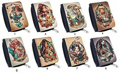 Disney Princess Tattoo Tinkerbell Snow White For Cute Canvas Wallet Purse
