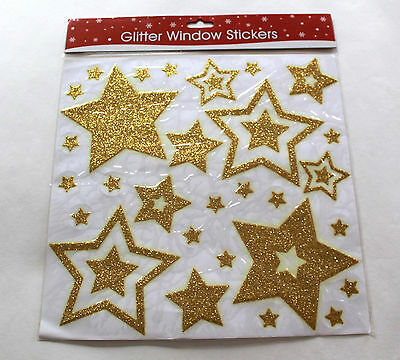 Reusable Glittered Christmas Window Stickers Decal Vinyl Decorations GOLD STARS