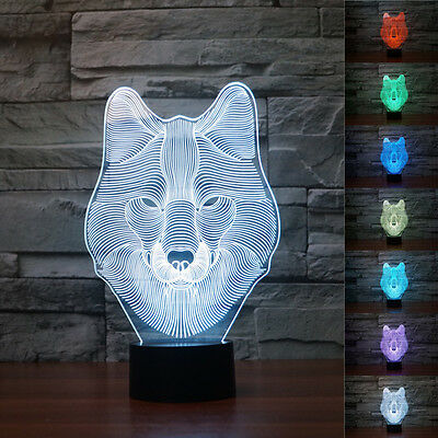 New 3D Animal Wolf Decor Night Light 7 Color Change LED Desk Table Lamp Toy Gift