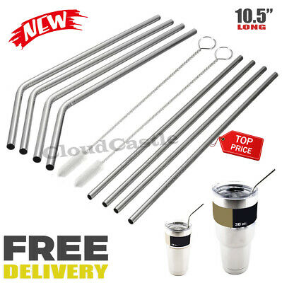 "10.5"" Long Reusable Stainless Steel Drinking Straws Metal for 30 Oz Yeti Tumbler"