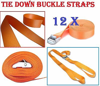 New 12 Pc H Duty Buckled Straps 2.5M X 25Mm Cam Buckle Tie Down Lashing Strap