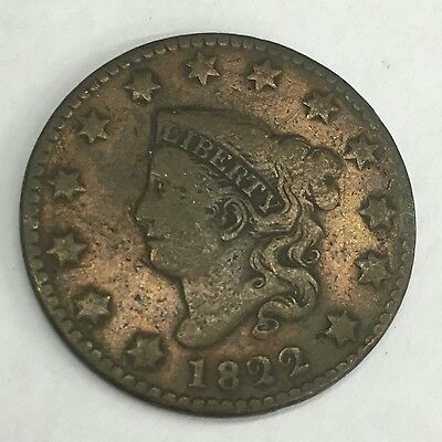 Antique United States Of America USA One Cent 1822 Copper Coin Liberty