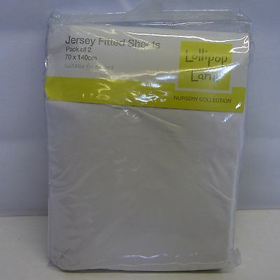 Lollipop Lane Single Jersey Fitted Sheets for Cotbed White, Pack of 2