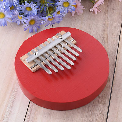 Red Round Pine Mbira Finger Thumb Piano Instrument Kids Musical Toy 8 Keys Hot