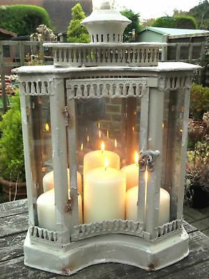 Antique French Vintage Style Large Garden Lantern Candle Holder Rustic Cream