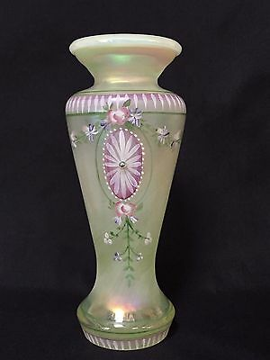Fenton Art Glass Yellow Topaz Opalescent Hand Painted Floral Vase ~ Signed