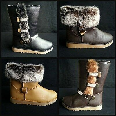 Winter Boots Crystal Bling Boots in Fur Lining Size 3-8 UK SELLER