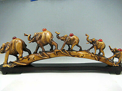 Wonderful China Hand Carved 5 Elephants Crossing bridge Statues&Snuff Bottles