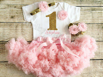 Personalised First 1st Birthday Tutu Set Baby Girl Pink Gold Cake Smash Outfit