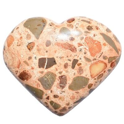 "LG CHARGED 2"" Leopardskin Jasper Crystal Hand-Carved Palm / Worry Stone REIKI"