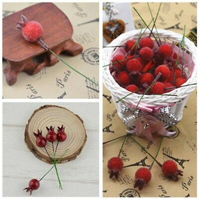 10PCS Mini Fake Glass Pomegranate Fruit Berries Artificial Flowers cherry Weddin