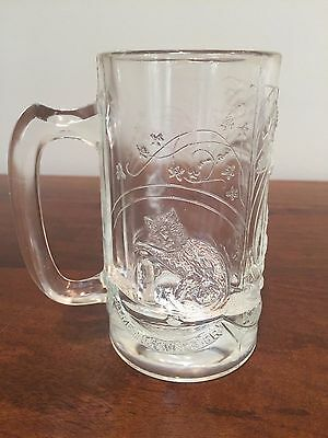 Vintage Clear Pressed Glass Katzenjammer 'Hangover' Beer Mug Stein with Cats