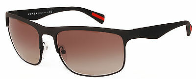 NEW Authentic PRADA Sunglasses PS 56PS Matte Black Bronze Gradient DG0-0A7