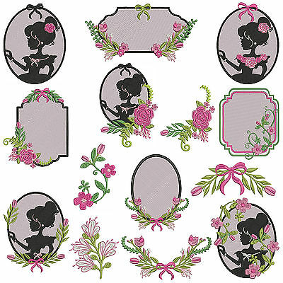 * SILHOUETTE FLORAL * Machine Embroidery Patterns ** 14 Designs in 3 sizes