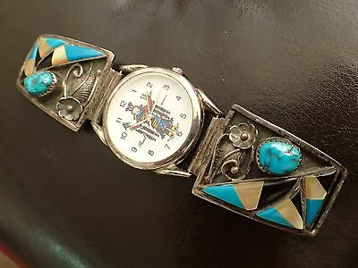 """Working Pearl NOS Native American Zuni Men's Watch w Sterling Tips """"BB"""" Lot #44"""
