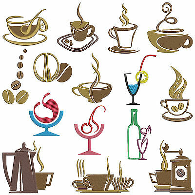 ** COFFEE TIME ** Machine Embroidery Patterns * 15 designs, 2 sizes