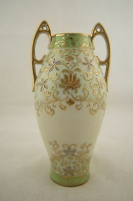 Antique Japanese signed Nippon hand painted Art Nouveau Jewelled floral vase