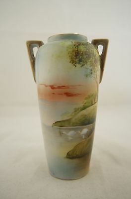 Antique Japanese signed Nippon hand painted Swan scene vase