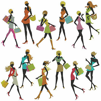 SHOPPING GIRLS * Machine Embroidery Patterns * 12 Designs in 3 Sizes