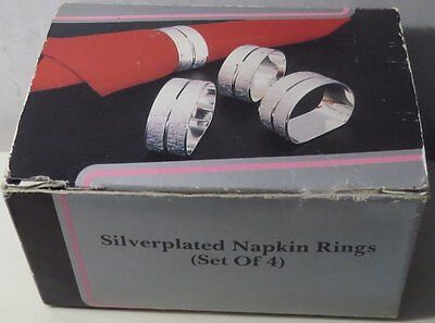 Set of 4 Silver Plated Napkin Rings Holders PMC International Sheffield England