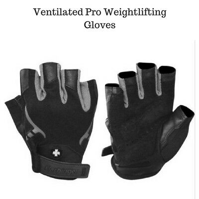Harbinger 1143 Ventilated Pro Weight Lifting Gloves - Black/Gray