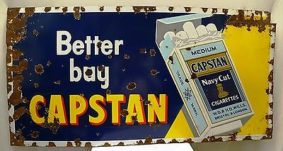 Vintage Cigarettes Porcelain Enamel Sign Capstan Navy Cut Bristol London Old Ad