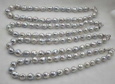 GORGEOUS Rainbow gray Furrow Kasumi Pearl Necklace 12-14mm
