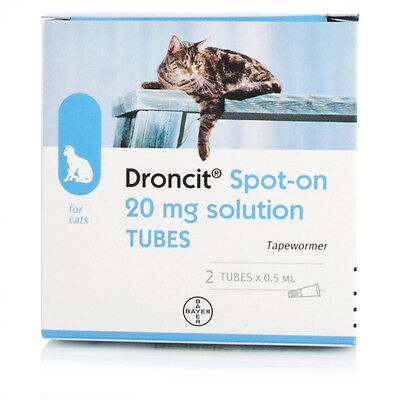 2 Pack Droncit Spot On Cat Wormer - 2 Tubes Tapeworm Deworming Treatment