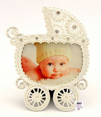 Baby Girl or Baby Boy Quality White Baby Pram Picture Photo Frame Baby Gift Idea