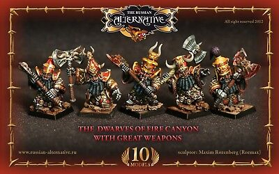 The Dwarves of Fire Canyon with Great Weapon Russian Alternative RESIN