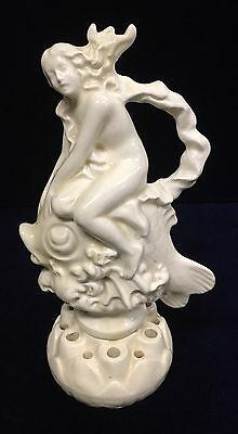 Antique Art Nouveau Mermaid Ceramic Flower Frog Made in Germany