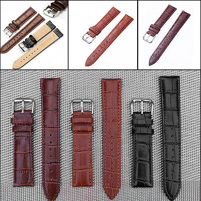 Genuine Leather Watch Straps Band Twister Mens Stainless Steel Buckle Spring Bar