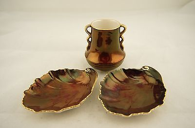 Antique Carlton Ware Rouge Royale small vase & two leaf shaped pin dishes/plates