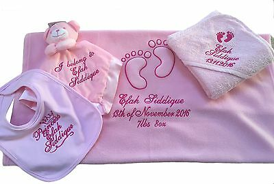 Personalised New Baby Girl Gift Set. Blanket, towel, teddy and bib.