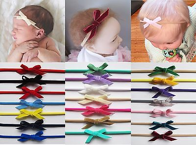 Baby Girls Skinny Teeny Velvet Bow Soft Elastic Headband Hair Band Accessories