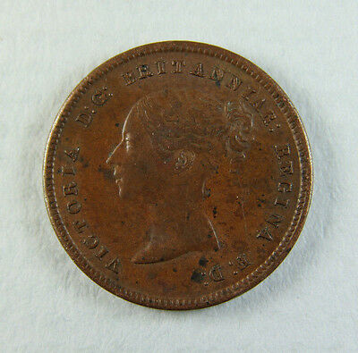 1844 Queen Victoria Half Farthing Coin; Young head; Old album collection!