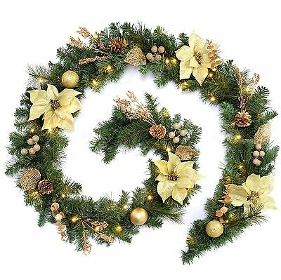 WeRChristmas 9 ft Decorated Pre-Lit Garland Christmas Decoration Illuminated ...