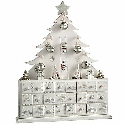 WeRChristmas Wooden Tree Advent Calendar Christmas Decoration 40 cm - White
