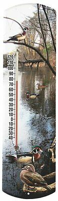 Heritage America by MORCO 375DUCK Wood Duck Outdoor or Indoor Thermometer, 20-In