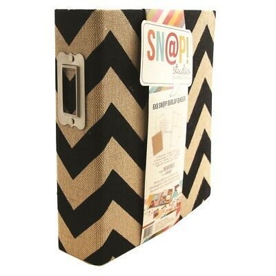 SN@P Studio Burlap Binder Chevron Black 6x8 Inch Album 20 tlg von Simple Stories