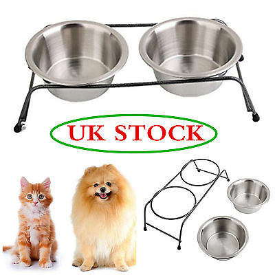 Double Stainless Steel Pet Cat Dog Food Water Bowls Dish with Raised Iron Stand