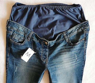 BNWT NEXT Ladies skinny jeans MATERNITY mid blue distressed over bump size 12 R