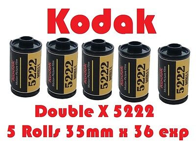 Kodak EASTMAN 5222 DOUBLE X Five Pack Black & White 35mm x 36 Exposure Film