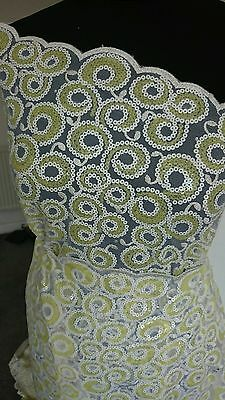Tulle with Sequin Net lace African Fabric Yellow sold per yard
