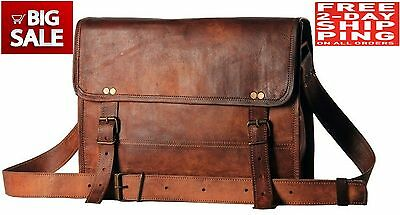 NEW Men's Auth Real Leather Messenger Bags Laptop Briefcase Satchel Mens Bag