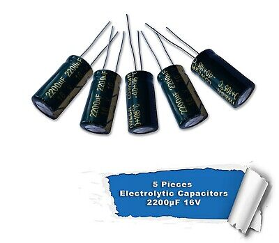 5 pieces 2200uF 16V  105C Radial Electrolytic Capacitor 10*20MM