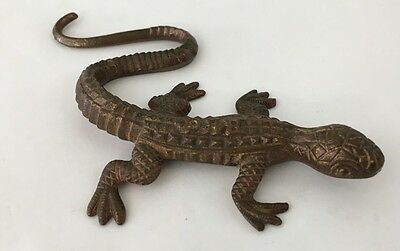 "Vintage ""R.H. CO."" ADVERTISING Bronze LIZARD or GECKO PAPERWEIGHT FIGURE"