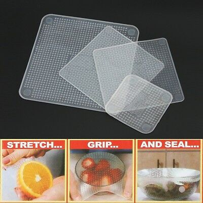 Set Of 4 Re-usable Stretch and Fresh Food Wraps Kitchen Accessories Tools