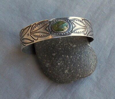 Old Vintage Unisex Fred Harvey Era Silver Green Turquoise Cuff Bracelet Swastica